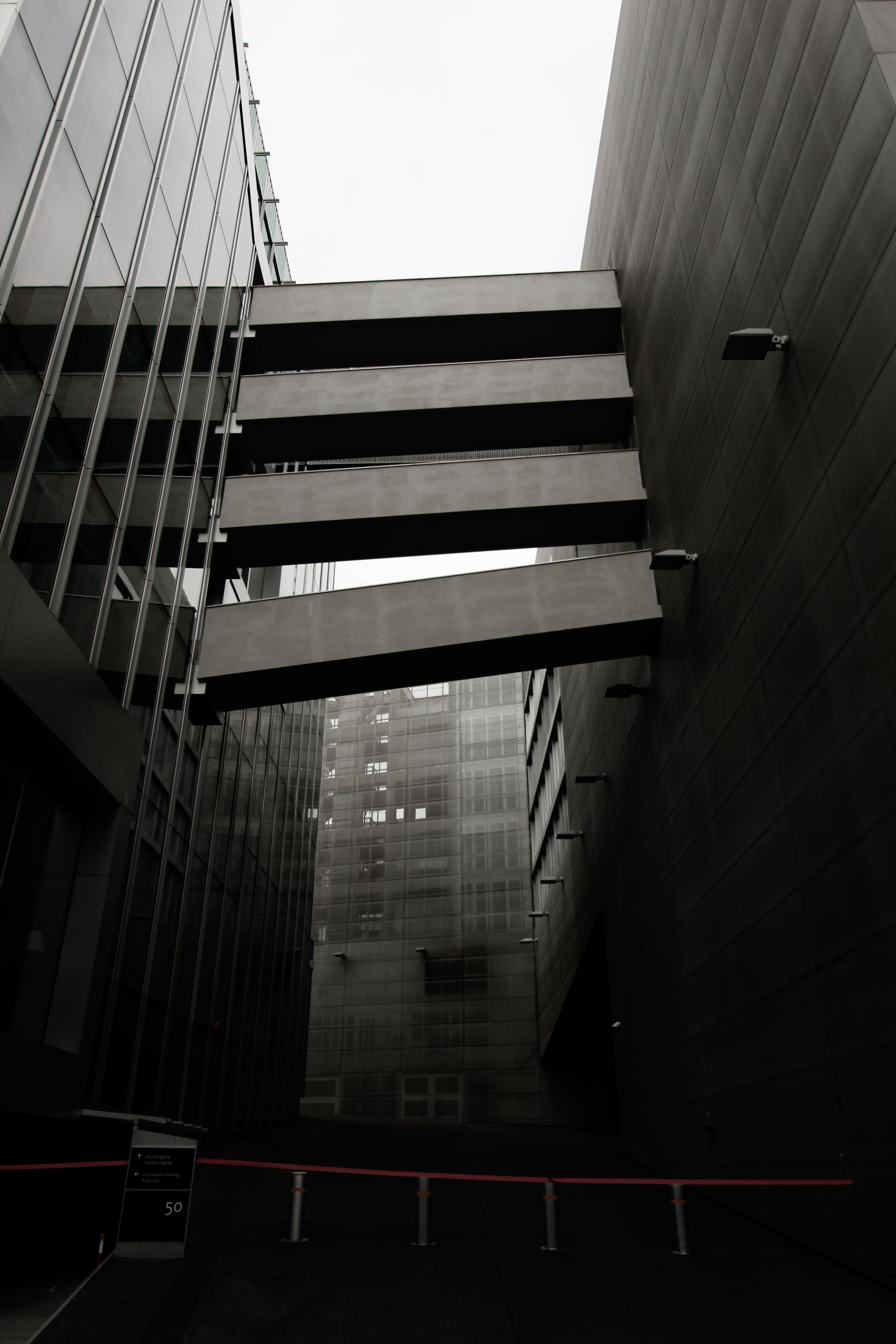 Black and white photo of modern buildings