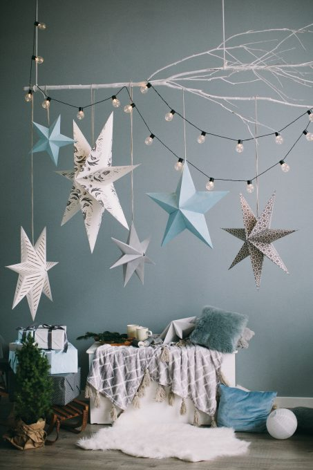 Blue, white, and gray Christmas decor