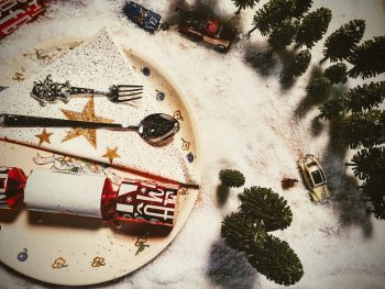 Flat lay photo of a Christmas miniatures