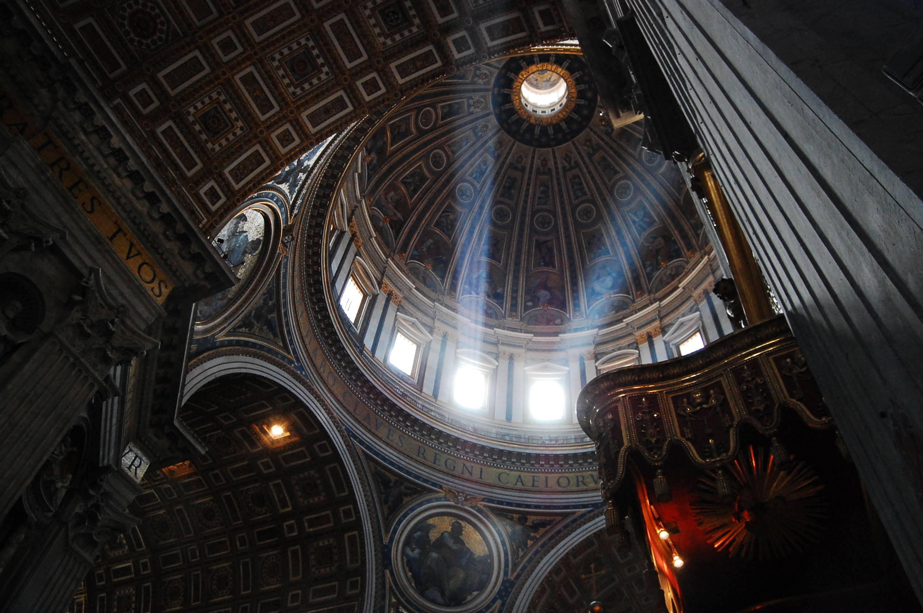 Low-angle photo inside of a cathedral