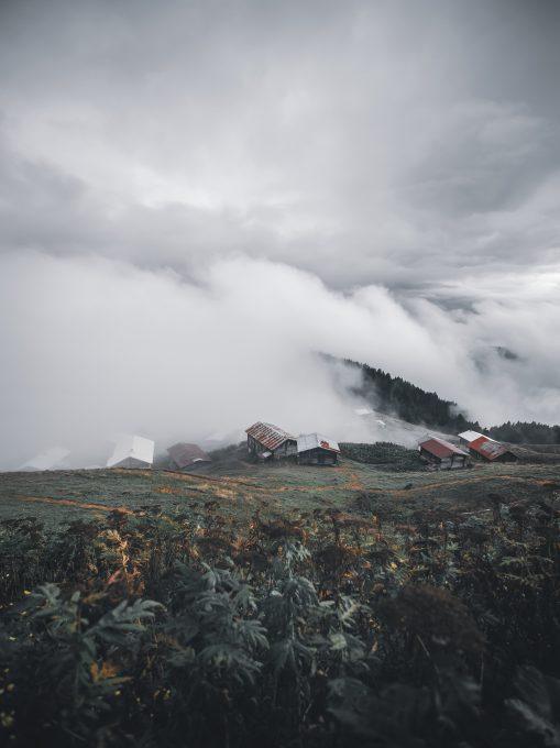 Photo of foggy mountains