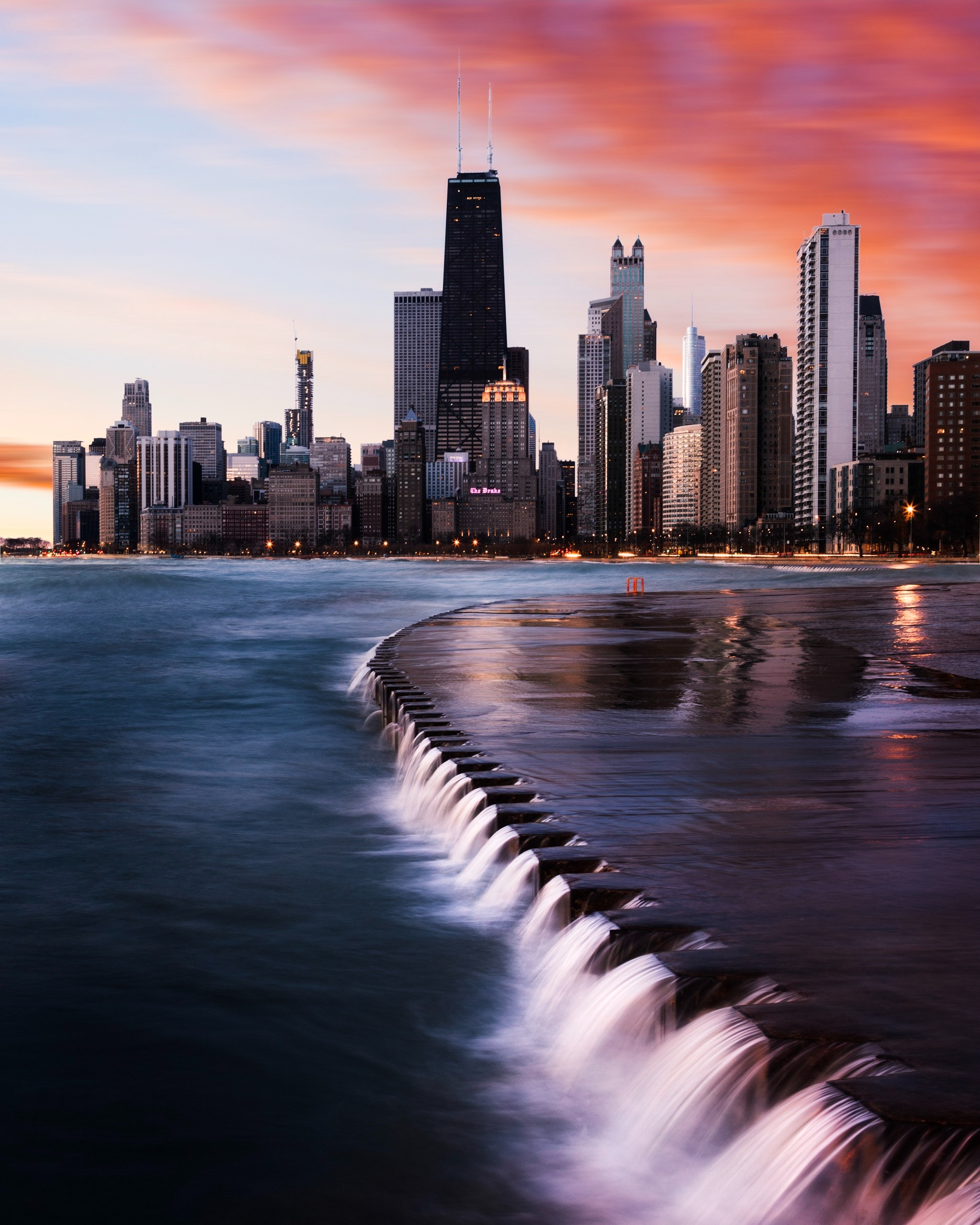 Time-lapse photography of a river near a big city