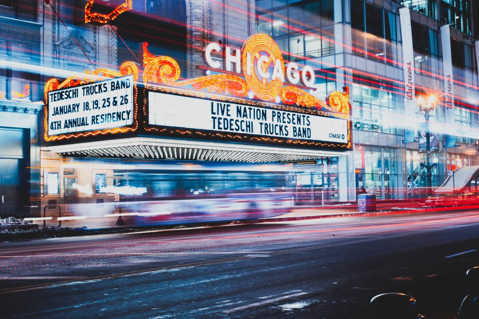 Time-lapse photography of the Chicago Theater at night