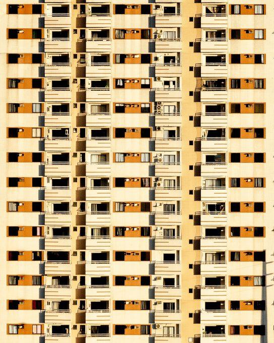 A yellow concrete building