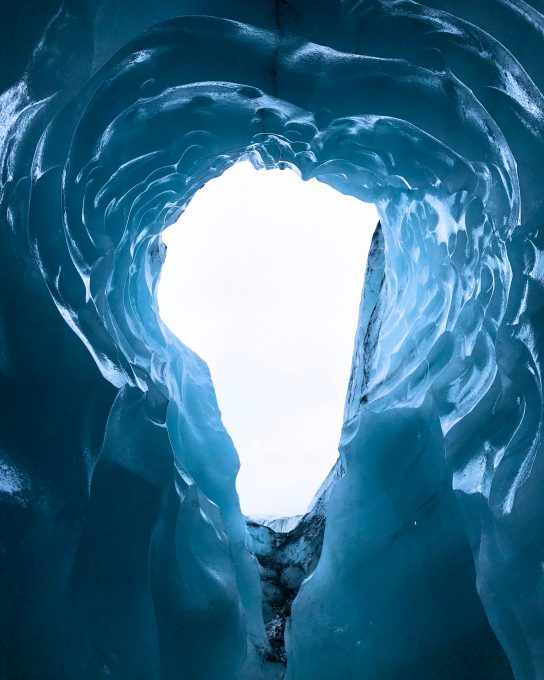 Photo from below an icy hole