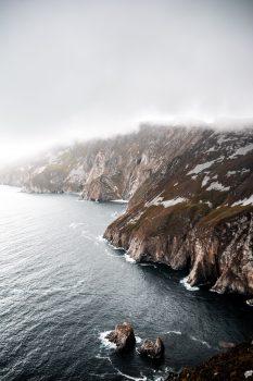 A foggy mountain scenery