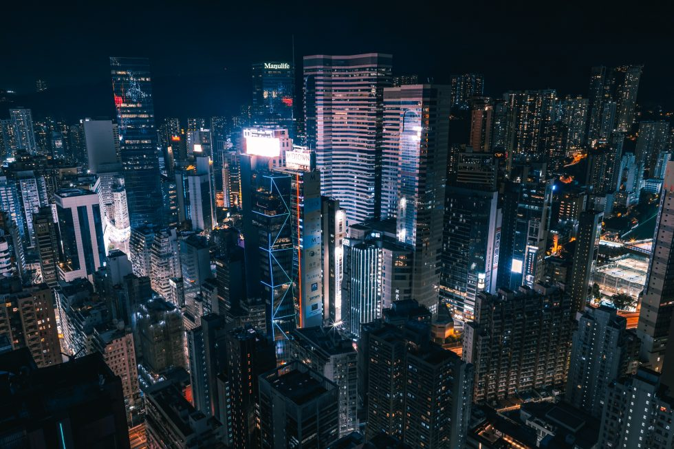 Aerial photography of cityscape during night