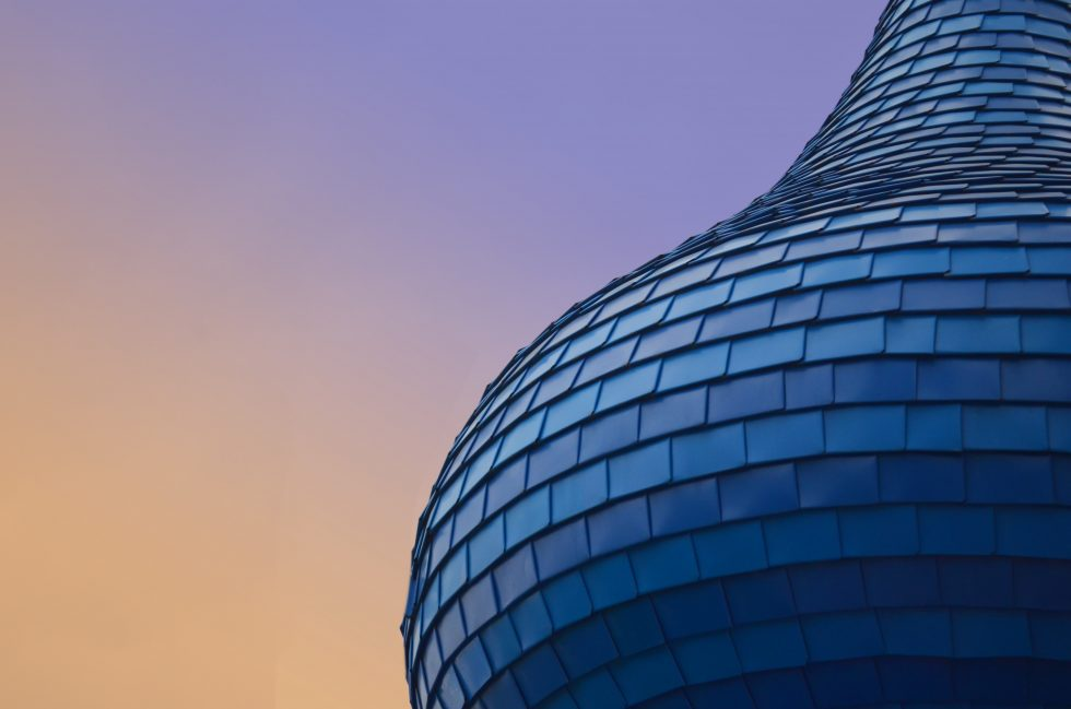 Close-up photo of a building during purple sunset