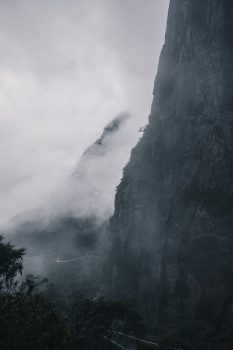 Photo of a foggy mountain