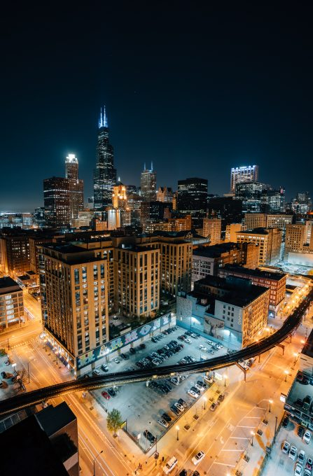 Photo of Chicago cityscape at night