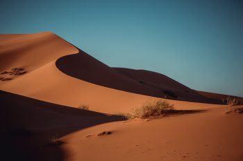 Sand dunes under the blue sky
