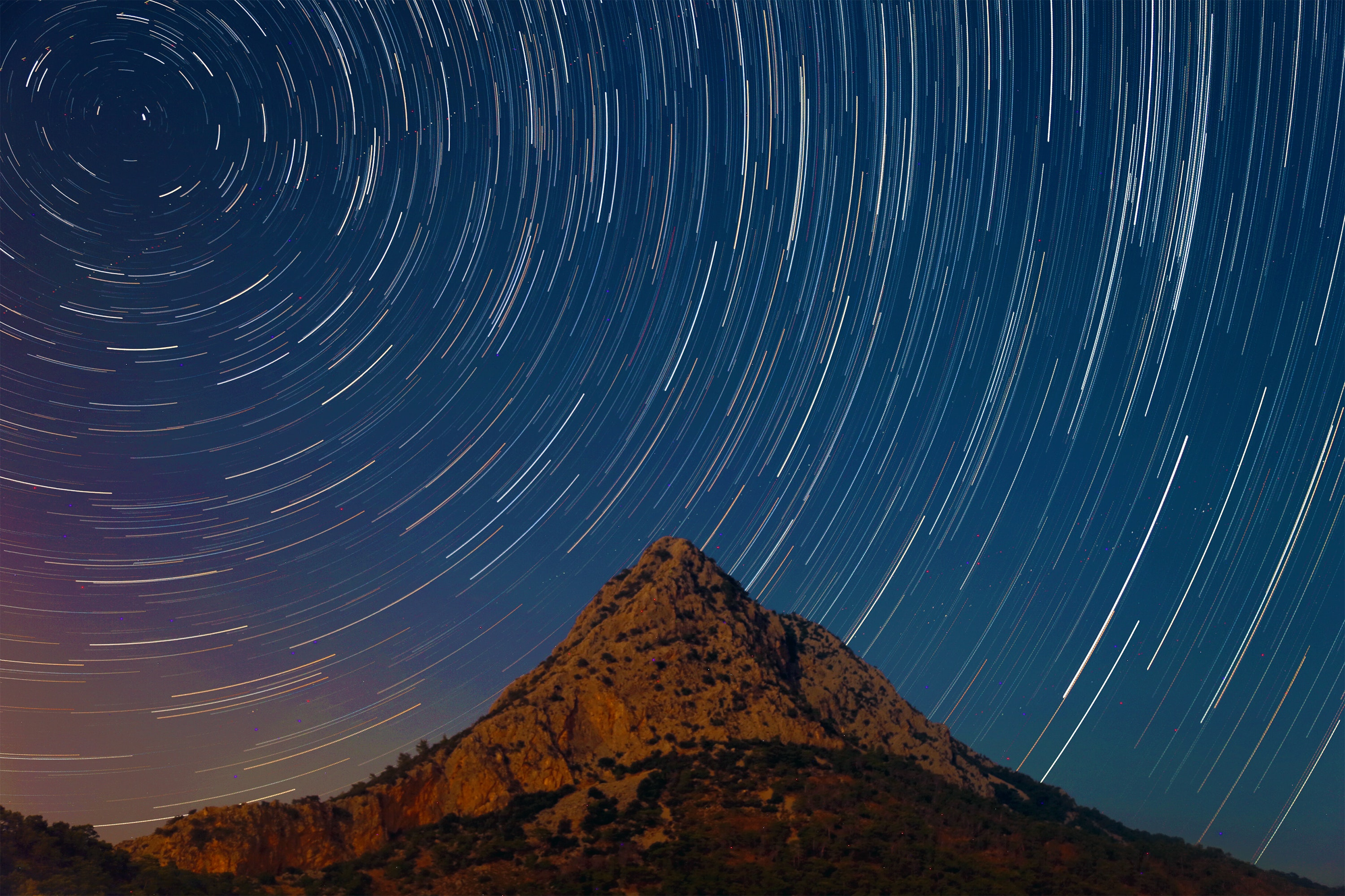 A starry sky in time-lapse mode