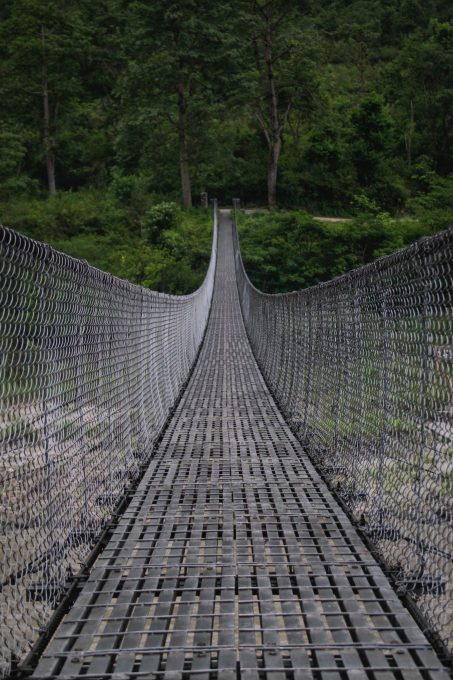 Close-up photography of a gray bridge