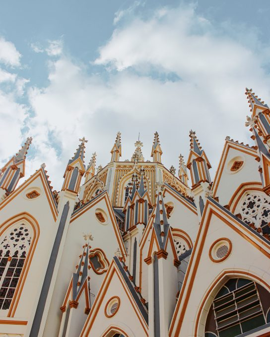 Low-angle photo of a cathedral