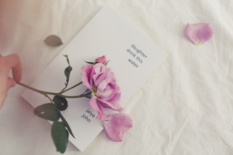 Photo of a book with a pink flower and a hand