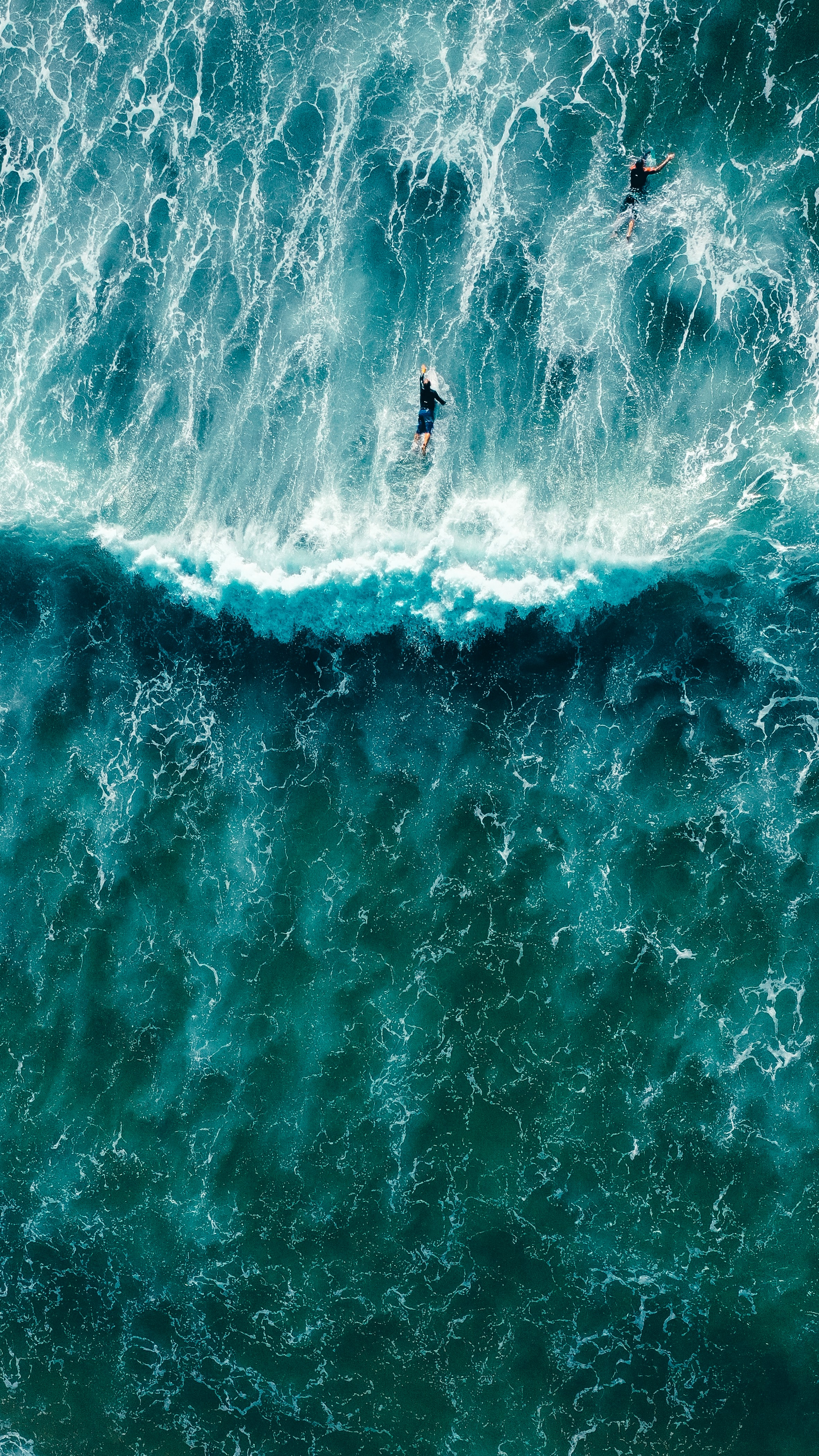 A bird's eye view of a wave and surfers