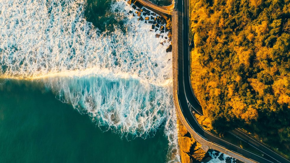 A bird's eye view of the ocean, a road, and trees